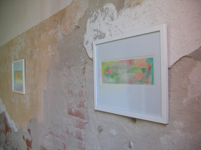 © Wilhelm Roseneder. Langes Rechteck/Long rectangle, 34,7x10,7 cm. Aquarell auf Papier/Water-colour on paper. Artfarm Pilastro. Pilastro di Bonavigo, Verona,  Italy, 2005