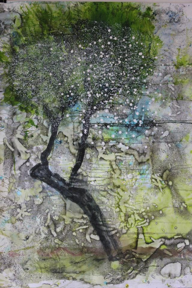 © Wilhelm Roseneder. Römische Landschaft  II/Roman landscape II, 2011. Aquarell, Tusche, Chinesische Tusche/Watercolour, ink, Chinese ink, 1.20x90 cm
