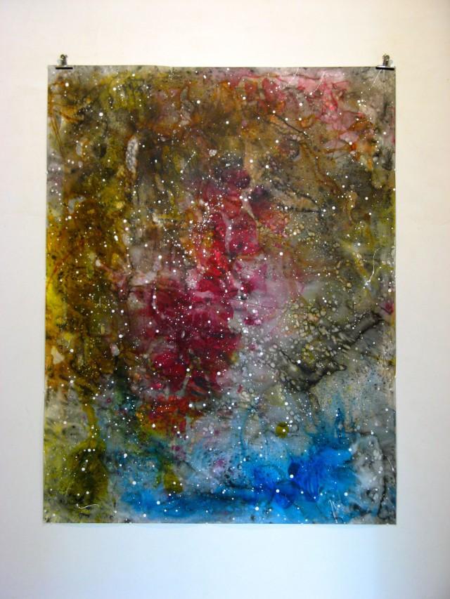 © Wilhelm Roseneder. Sternenbild/Constellation I, 2010. Aquarell, Tusche, Chinesische Tusche/Watercolour, ink, Chinese ink, 2.00x1.50 m. Pilastro di Bonavigo, Verona, 2011