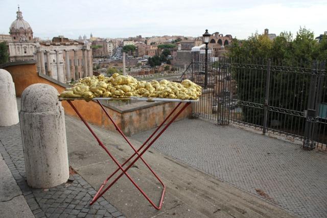 © Renate Egger and Wilhelm Roseneder. Goldene Erweiterung:Golden expansion. Street art project. Forum Romanum, Rome, Italy, October 2011