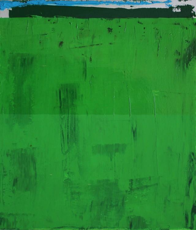 © Wilhelm Roseneder. Landschaft überwiegend in Maigrün, 2002. Öl auf Leinen, Karton/Oil on canvas, cardboard, 24,8x28,5 cm