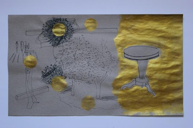 © Wilhelm Roseneder. Der goldene Tisch/The golden table, 2011. Arbeit auf Papier/Work on paper