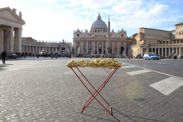 © Renate Egger and Wilhelm Roseneder. Goldene Erweiterung:Golden expansion. Street art project. Vatican, Rome, Italy, 2011