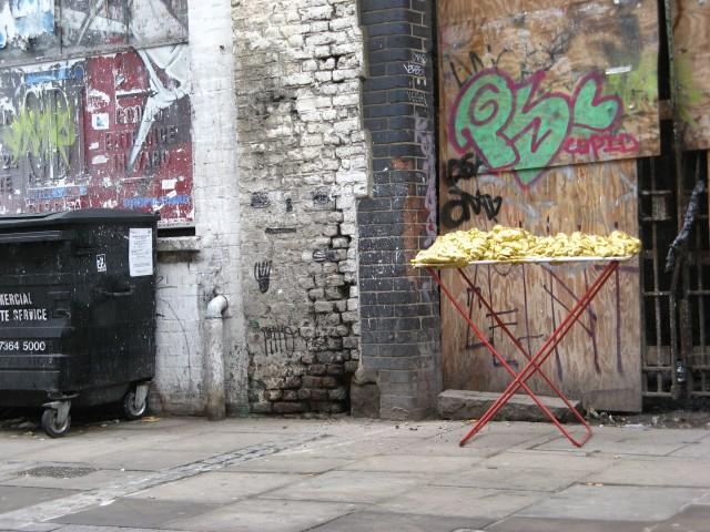 © Renate Egger and Wilhelm Roseneder. Goldene Erweiterung/Golden expansion. Street art project - temporary installation in public space. Brick Lane. London, UK, 2010