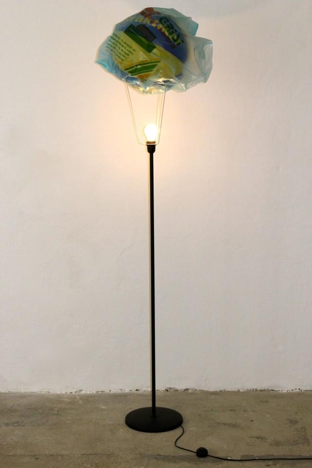 © Wilhelm Roseneder. Es werde Licht/Let there be light, 2005. Wasserball auf Metall (Lampe)/ Water ball on metal (lamp)