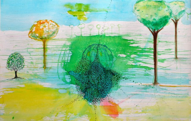 © Wilhelm Roseneder. Studie zu römischer Landschaft/Study to roman landscape, 2011. Aquarell, Tusche, Chinesische Tusche/Watercolour, ink, Chinese ink, 34x24 cm