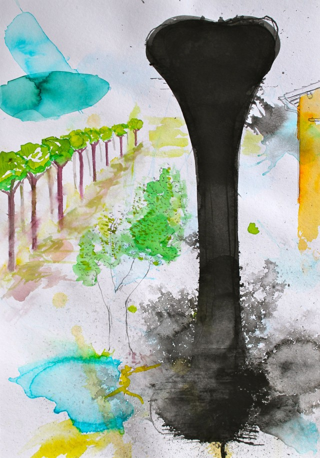 © Wilhelm Roseneder. Studie zu römischer Landschaft/Study to roman landscape, 2011. Aquarell, Tusche, chinesische Tusche/Watercolour, ink, Chinese ink, 24x34 cm
