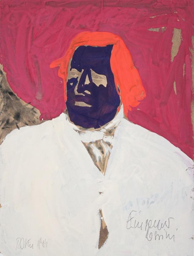 © Wilhelm Roseneder. Einsamer Rossini/Lonesome Rossini, 19984. Gouche auf Druck/Gouache on print, 31x23 cm