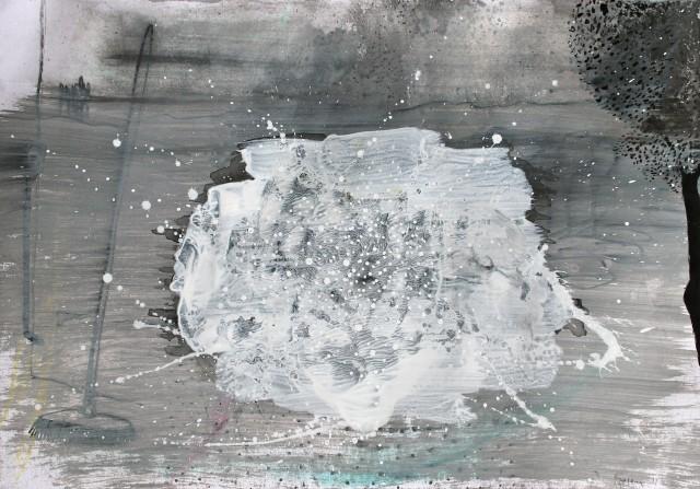 © Wilhelm Roseneder. Studie zu weißer Invasion/Study to white invasion, 2011.         Artist in Residence, Rome, Italy. Chinesische Reibtusche, Deckweiß, Bleistift auf Papier/Chinese ink, opaque white, pencil on paper 24x34 cm