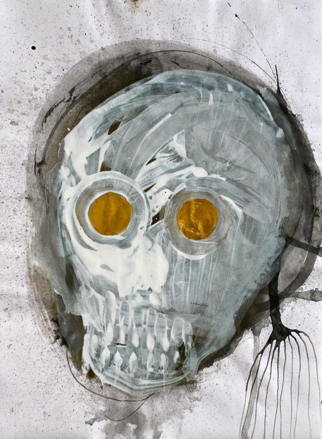 © Wilhelm Roseneder. Totenkopf/Skull, 2011. Acryl, chinesische Reibtusche auf Papier/Acrylic, Chinese ink on paper, 24x32.5 cm