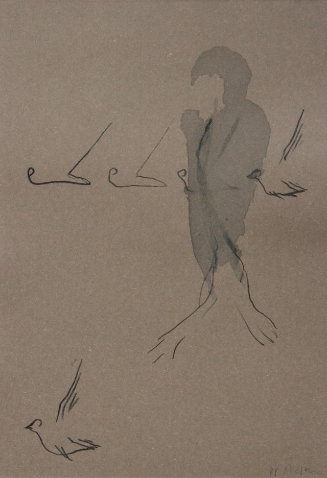 © Wilhelm Roseneder. Vögel/Birds, 1988. Aquarell, Ölkreide auf gefärbten Papier/Watercolour, oil crayon on coloured paper, 34x23,7 cm