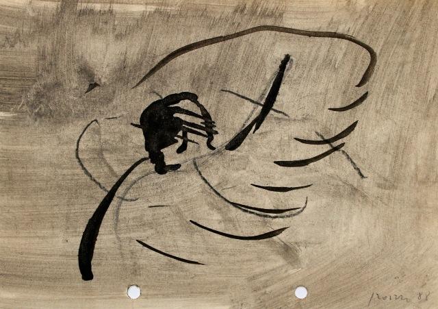 © Wilhelm Roseneder. Dem Engel einen Schlag versetzen, 1988. Tusche, Ölkreide auf Papier/Ink, oil crayon on paper, 14,6x20,9 cm