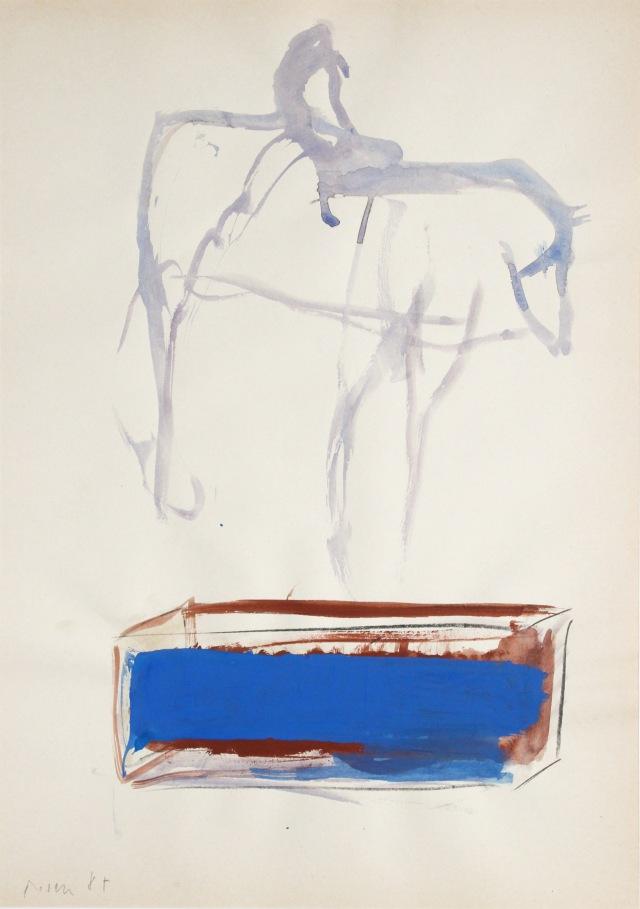 © Wilhelm Roseneder. Don Quichotte, 1987. Gouache, Ölpastell auf Papier /Gouache, oil pastel on paper, 42x29,5cm