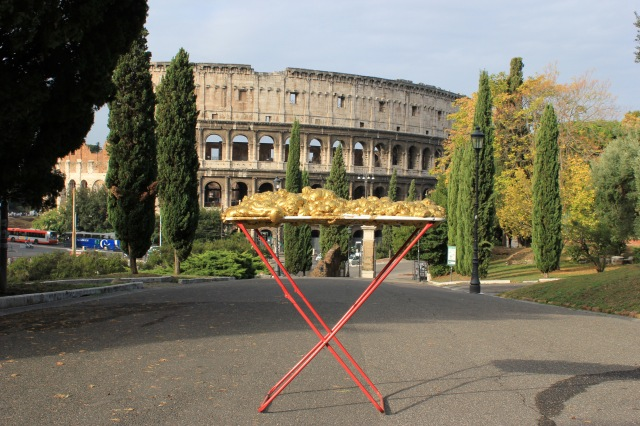 © Renate Egger and Wilhelm Roseneder. Goldene Erweiterung/Golden expansion. Street art project. Colosseum, Rome, Italy, October 2011
