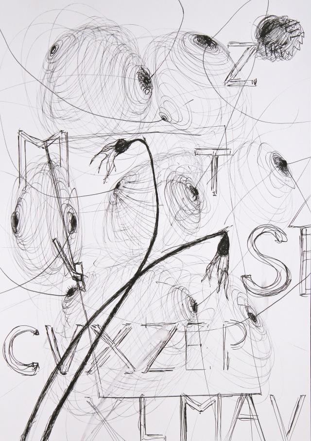 © Wilhelm Roseneder. Series: Notizen/Notes, 2013. Allstift, Kugelschreiber, Filzstift/ All pen, ball pen, felt pen, 42x30 cm