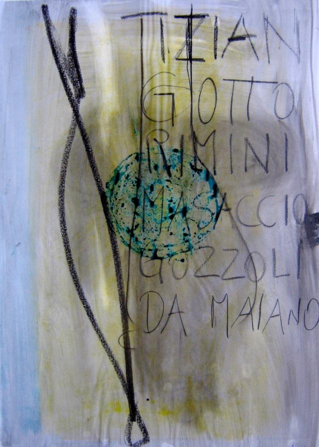 © Wilhelm Roseneder. Tizian, Giotto, Rimini... 1990.  Glasochrom auf Paraffinpapier/Glasochrom on paraffin-paper. 63x45,5 cm